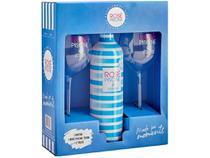 Vinho Rosé Meio Seco Rosé Piscine - Kit Cristal Blue França 750ml com Taça