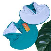 Viseira Turbante Dupla Face Com Proteção Solar Uv 50+ Azul E Branco - Bogu By Siss