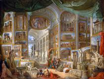 Visões da Roma Antiga (1757) - Giovanni Paolo Panini - 75x98 - Tela Canvas Para Quadro - Santhatela