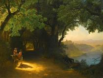 Vista do Castelo Gandolfo e do Lago Albano (1857) - Lev Lagorio - 30x40 - Tela Canvas Para Quadro - Santhatela