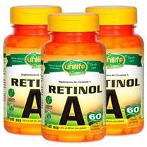 Vitamina A Retinol 60 cápsulas de 500mg - 8.000 UI -Kit com 3 - Unilife