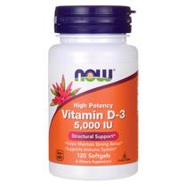 Vitamina D-3 5000UI (120 Cápsulas) Now Foods