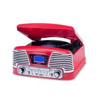 Vitrola Raveo Harmony BT Vermelha C/ Bluetooth Toca Discos Vinil, USB, SD, CD, FM -