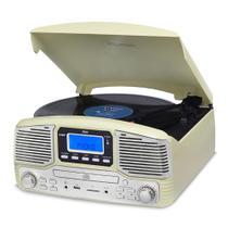 Vitrola Raveo Jazz Creme Toca-Discos, CD Player, Bluetooth, USB. SD, Radio FM Bivolt -