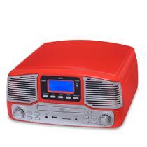 Vitrola Raveo Jazz Vermelho Toca-Discos, CD Player, Bluetooth, USB. SD, Radio FM Bivolt -