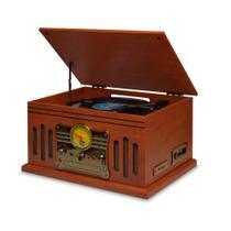 Vitrola Raveo Stadio Toca-Discos, CD Player, Bluetooth, Radio FM, USB, SD, Fita K7 Bivolt -