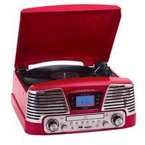 Vitrola Retrô Harmony - Toca-discos, CD, Bluetooth, USB, SD e Rádio FM - Raveo