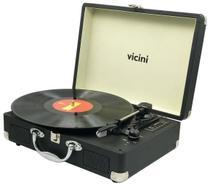 Vitrola Toca Discos Classic Retrô Bluetooth Usb Sd Rádio Fm Grava Reproduz Bivolt Aux Preto VC-285 Vicini Original -