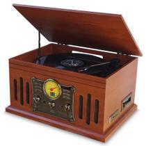 Vitrola Toca Discos de Vinil Bluetooth e Fita Cassete CD MP3 FM c/ Conversor Digital Arena Aria Phoenix Uitech -