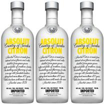 Vodka Absolut Citron 750ml 03 Unidades -
