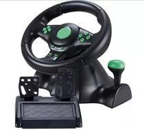 Volante De Vibração Gamer Com Pedais e Cambio Para Xbox360 PC PS2 PS3 Preto Giro 180º Knup KP-5815A -
