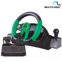 Volante E Pedais Para Xbox One, PC Com Marcha Acoplada Racer JS077 - Multilaser -