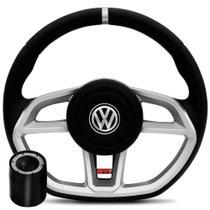 Volante Esportivo Golf MK7 Volkswagen, Base Reta, Preto Com Prata - Gol, Voyage, Parati, Fox, Polo, Golf, Saveiro - Omega volantes