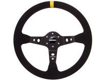 Volante Esportivo Lotse Dakar - Camurça Preta 350mm Tarja Amarela -