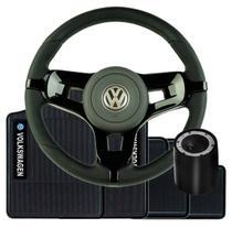 Volante Esportivo Mustang Para Gol G2 G3 G4 Buzina e Com Cubo + Tapete Bordado VW - Volkswagen