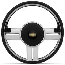 Volante Esportivo Rallye Slim Prata Corsa Celta Astra Com Acionador de Buzina Sem Cubo + Emblema GM - Prime