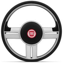 Volante Esportivo Rallye Slim Prata Uno Palio Strada Com Acionador de Buzina Sem Cubo + Emblema Fiat - Prime