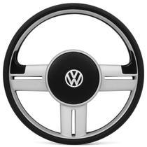 Volante Esportivo Rallye Super Surf Slim Prata Universal Sem Cubo Com Emblema VW - Prime