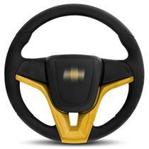 Volante Esportivo Universal sem Cubo com Acionador de Buzina Amarelo Modelo Cruze - MAS Volantes