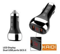 Voltímetro Carregador Celular Veicular 2 Usb Turbo 36w Kaidi -
