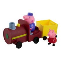 Vovô Pig Maquinista e Peppa Pig com Trem e Vagão Original Peppa Pig Character SUNNY 2306 -