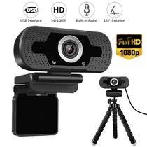 Webcam Câmera Full Hd 1080p Usb De Computador Com Tripé Flexi e Microfone Embutido - Lxshop