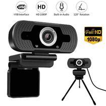Webcam Full Hd 1080p Câmera Usb De Computador Pc Com Microfone Embutido Com Tripé Metal - Lxshop