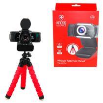 Webcam Kross Elegance HD 720p Foco Manual Com Tripé Plug & Play Tampa de Privacidade - KE-WBM720P -