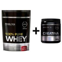 Whey 100% Puro 825g Refil + Creatina Em Pó 300g Probiotica -