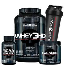 Whey 3hd 907g + Creatina 150g + Bcaa 100 + Coq Black Skull