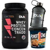 Whey Concentrado Dux Nutrition + Pasta Amendoim Powerone