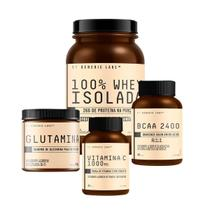 WHEY ISOLATE (900g) + GLUTAMINA (300g) + BCAA 2400 (60 cápsulas) + VITAMINA C (30 tabletes) - Baunilha - Generic Labs