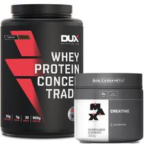 Whey Protein Concentrado Pote 900g Dux Nutrition + Creatina 300g Max Titanium -