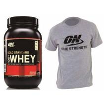 Whey Protein Gold Standard 100 909G - Morango - Optimum Nutrition + Camisa da ON