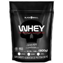 Whey protein - proteína concent isolada hidro - 900g - refil - Caveira Preta