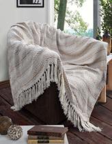 Xale grande para sofa 100% algodão manta para sofa azaléia 2,40m x 1,50m BEGE / CRU - Beauty Enxovais