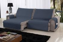 Xále Protetor Sofá Retrátil Reclinável Assento 1,60m Azul e Bege - Home Fernandes