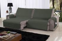 Xále Protetor Sofá Retrátil Reclinável Assento 1,60m Militar e Bege - Lavive -