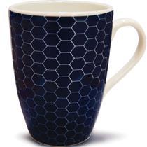 Xícara Caneca Cerâmica Para Café Ou Chá Jantar Manhã 320ml Azul Marinho - Yoi