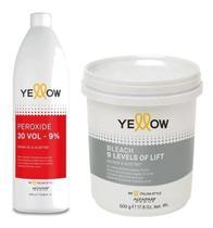 Yellow Água Ox Volume 30 + Pó Descolorante Bleach 9 Tons -