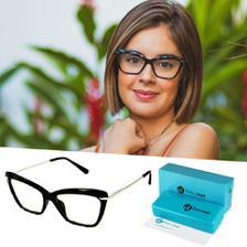 4197969f6 Armação Óculos Grau Feminino Quadrado Retrô Preto 9811 - Isabela ...