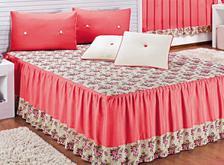 c676ca674 Colcha Casal Padrão Beatriz 03 Peças Bordado - Tecido Cetim - Pink ...