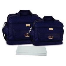 28b4d8c2d0d39 Kit Bolsa Maternidade Piquet Personalizada Azul Marinho Com Dourado ...