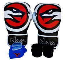5b94c062a Kit de Boxe   Muay Thai 12oz - Preto com Branco - MMA Brazuka - Kit ...