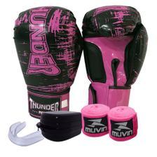 798425640 Kit Boxe Muay Thai Oríon - Luva Bandagem Bucal Gladiador - Preto ...