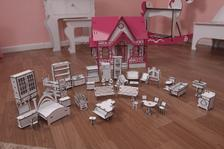 bb119493f Kit Casa Boneca Móveis Barbie Emily MDF Cru C+C - Darama - Casinha ...