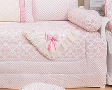 f32ea9ec0 kit Berço bordado 09 peças baby art florido silk birds baby rosa ...