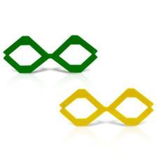 1294fb89b2a3b Óculos Gatinha Metalizada Verde e Amarelo 12 unidades Brasil ...