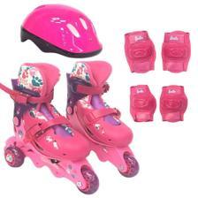 ed062122d Patins Roller Infantil 3 Rodas 30 A 33 C  Kit Proteção Rosa Fênix ...