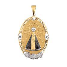 9d6896bcda022 Pingente de Ouro 18k Nossa Senhora Aparecida com Diamantes pi16266 ...